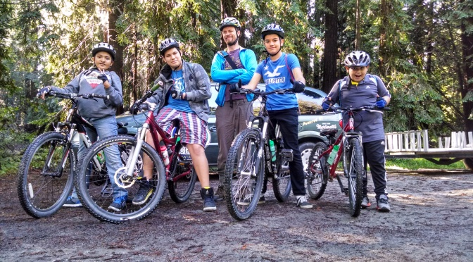 Kids from Earn-A-Bike program explore the Forest of Nisene Marks