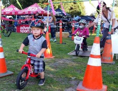Toddlers ride at the Santa Cruz Mountain Bike Festival Bike Rodeo April 2015