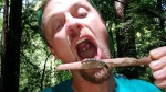 Tawn tries a forest delicacy of centipede on a stick
