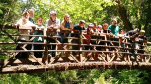 Group photo on the Buddha Bridge in the Forest of Nisene Marks